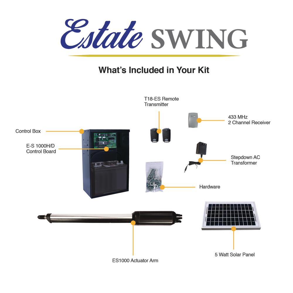 Estate Swing Single Swing Automatic Gate Opener Kit With 5