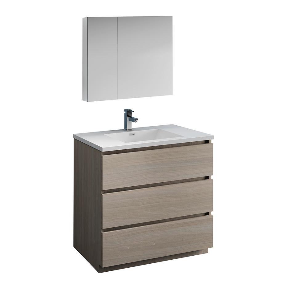 Modern Bathroom Vanity In Gray Wood