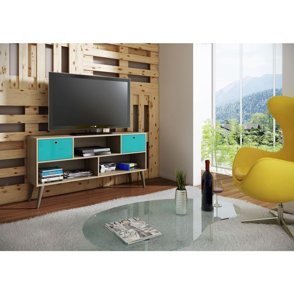 manhattan comfort uppsala oak and aqua entertainment center - Tv Stands Entertainment Centers