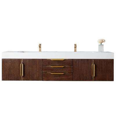 Mercer Island 72 in. W D. Bath Vanity in Coffee Oak-Gold with Solid Surface Vanity Top in Matte White with White Basin