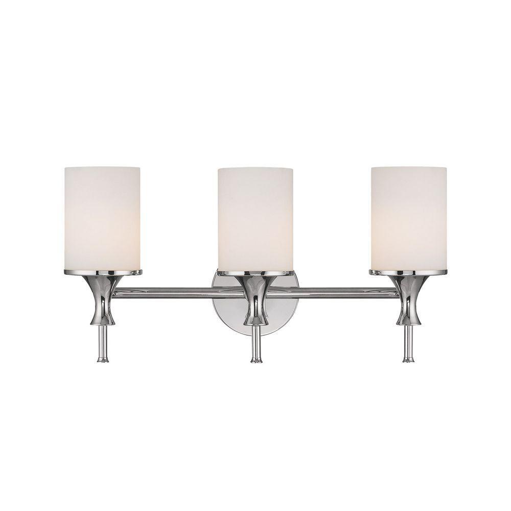 Filament Design 3-Light Polished Nickel Vanity Light with Soft White Glass