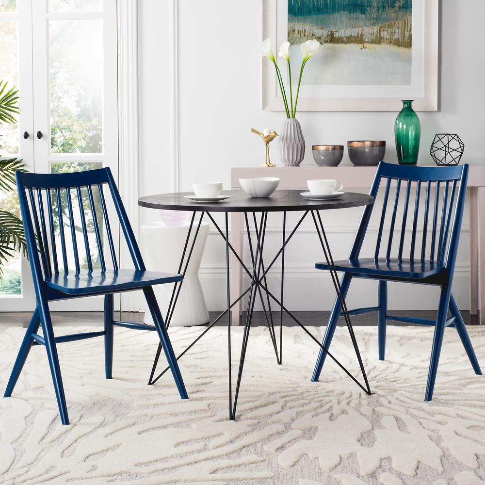 Safavieh Wren Navy 19 in. H Spindle Dining Chair (Set of 2)-DCH1000E ...