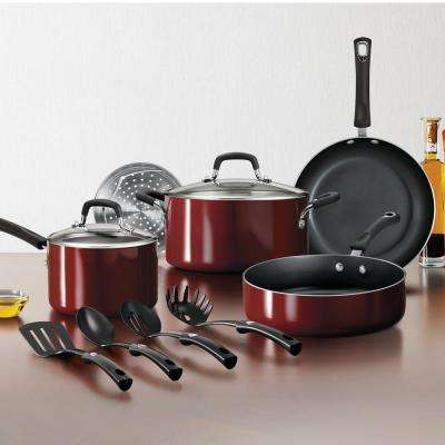 Gourmet 11-Piece Red Rhubarb Nonstick Aluminum Cookware Set