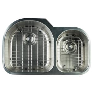 Glacier Bay Undermount Stainless Steel 32 in. 0-Hole Double Bowl ...
