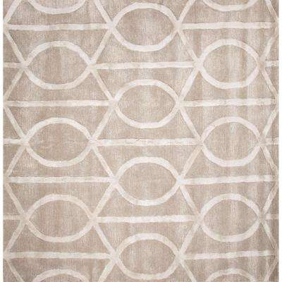 Hand-Tufted Drizzle/Star White 6 ft. x 6 ft. Trellis and Chain Square Rug
