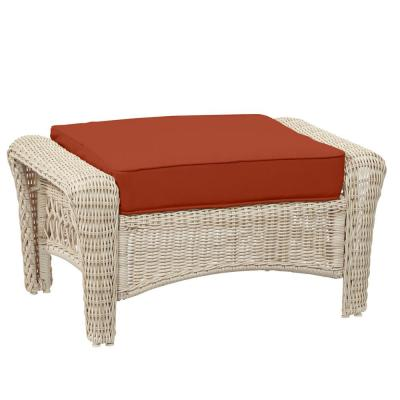 Park Meadows Off-White Wicker Outdoor Patio Ottoman with CushionGuard Quarry Red Cushion