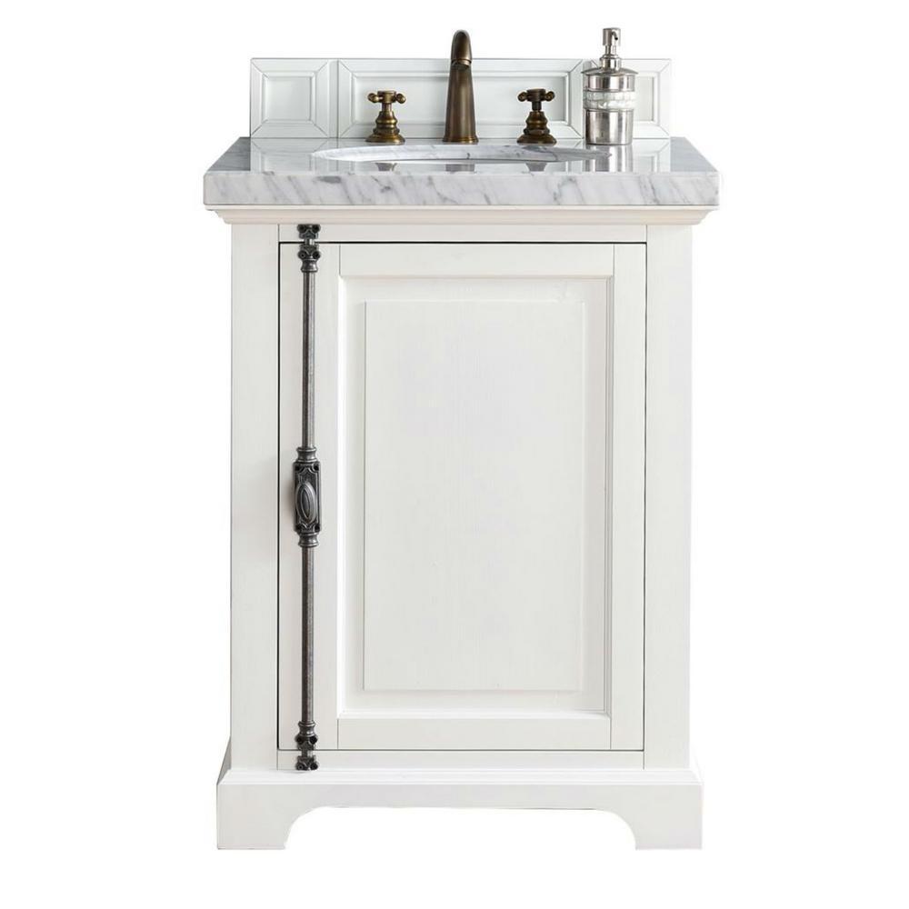 Providence 26 in. W Single Vanity in Cottage White with Marble Vanity Top in Carrara White with White Basin