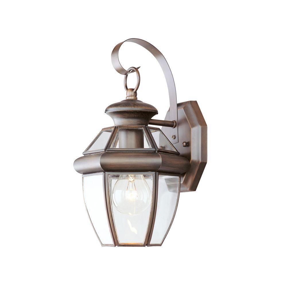 Livex Lighting 1-Light 13 in. Bronze Finish Clear Flat Glass Outdoor Wall Lantern