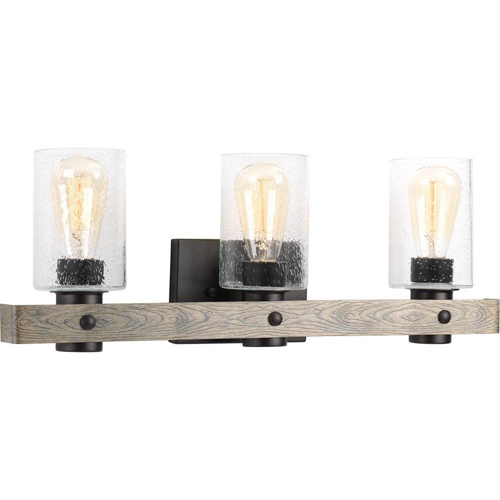 3 Country Style Pendant Vanity Light Fixture: Progress Lighting Gulliver 3-Light Graphite Bath Light