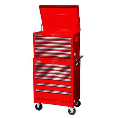 Tech Series 27 in. 13-Drawer Tool Chest and Cabinet Combo in Red
