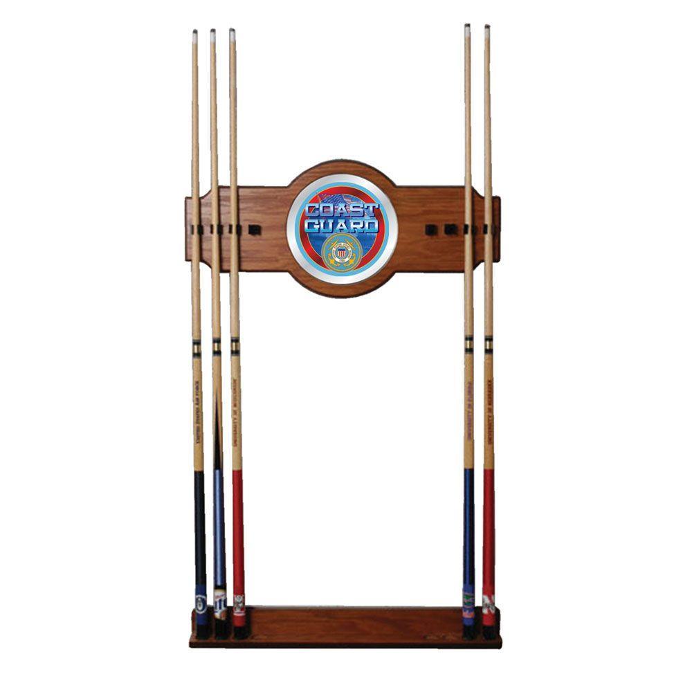 U.S. Coast Guard 30 in. Wooden Billiard Cue Rack with Mirror
