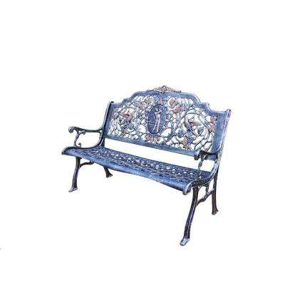 Golfer Cast Aluminum Patio Bench