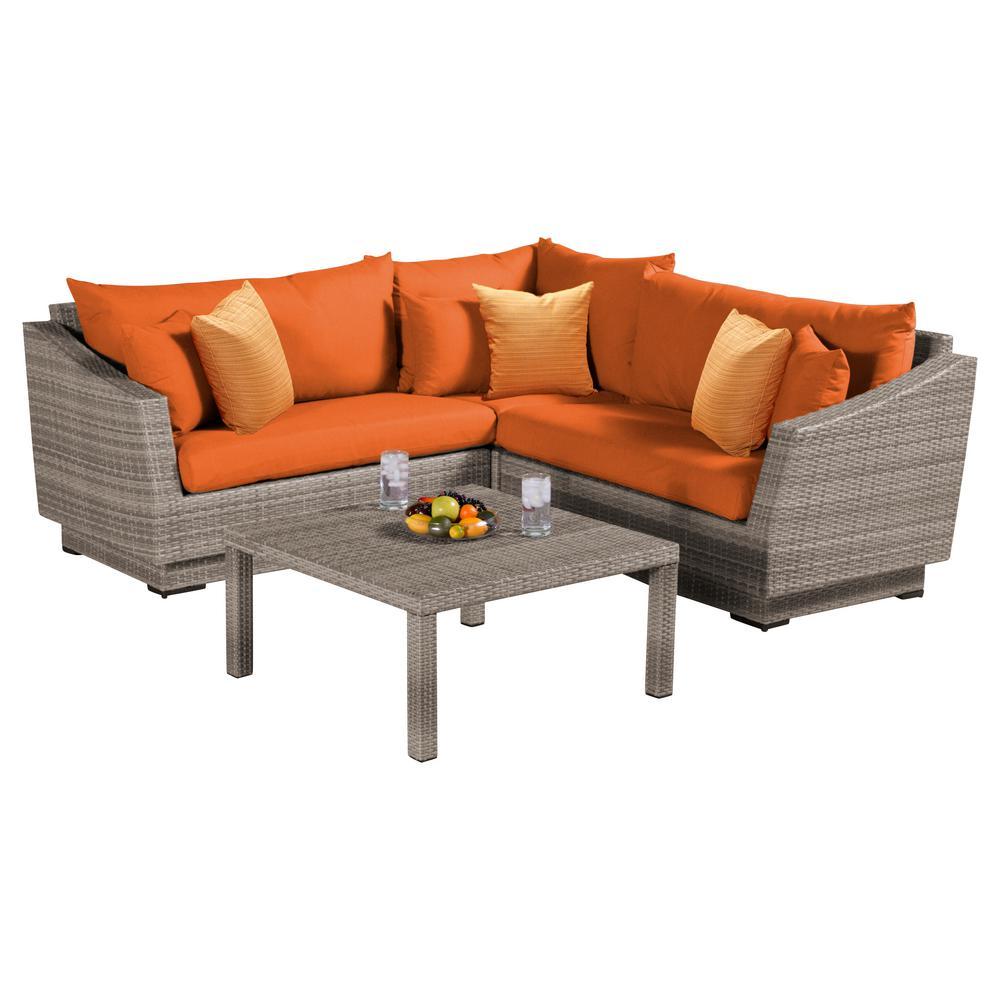 Cannes 4 Piece Patio Corner Sectional Set With Tikka Orange Cushions