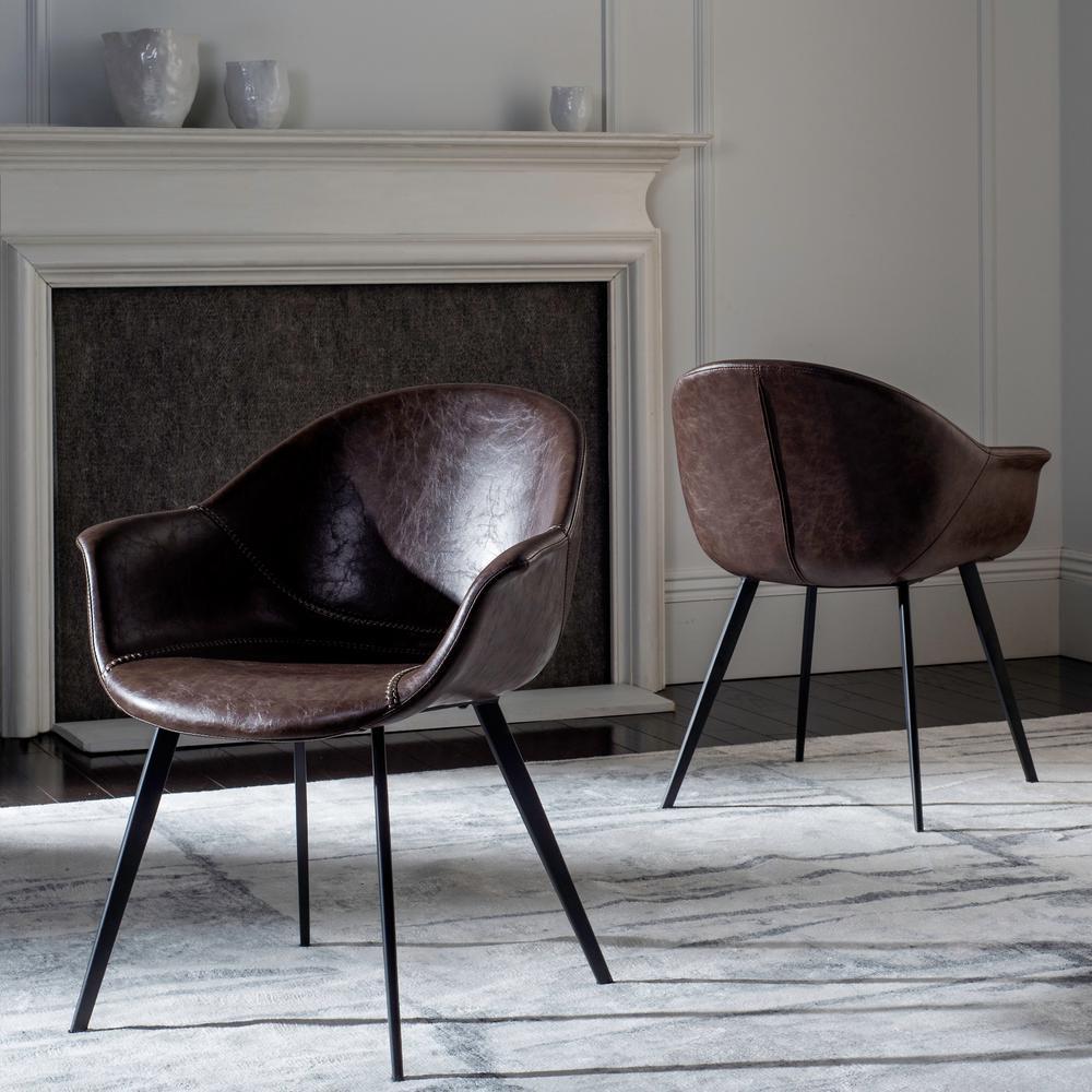 Dublin Metal Dining Chair: Safavieh Dublin Dark Brown/Black Leather Dining Chair (Set