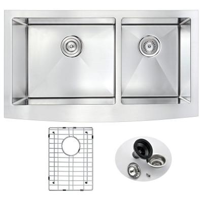 ELYSIAN Series Farmhouse Stainless Steel 33 in. 0-Hole Double Bowl Kitchen Sink