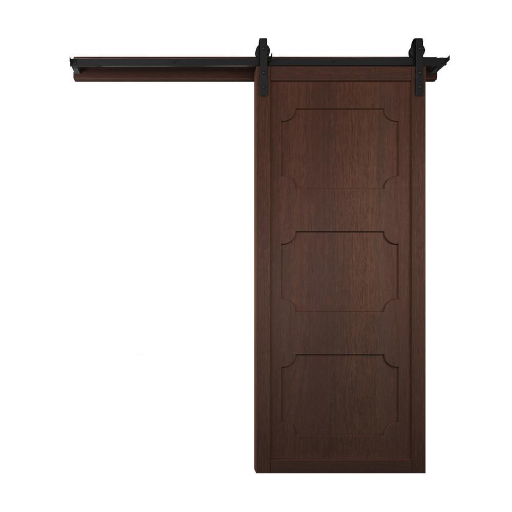 42 in. x 84 in. The Harlow III Sable Wood Barn Door with Sliding Door Hardware Kit