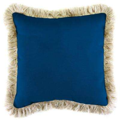 Sunbrella Canvas Navy Square Outdoor Throw Pillow with Canvas Fringe