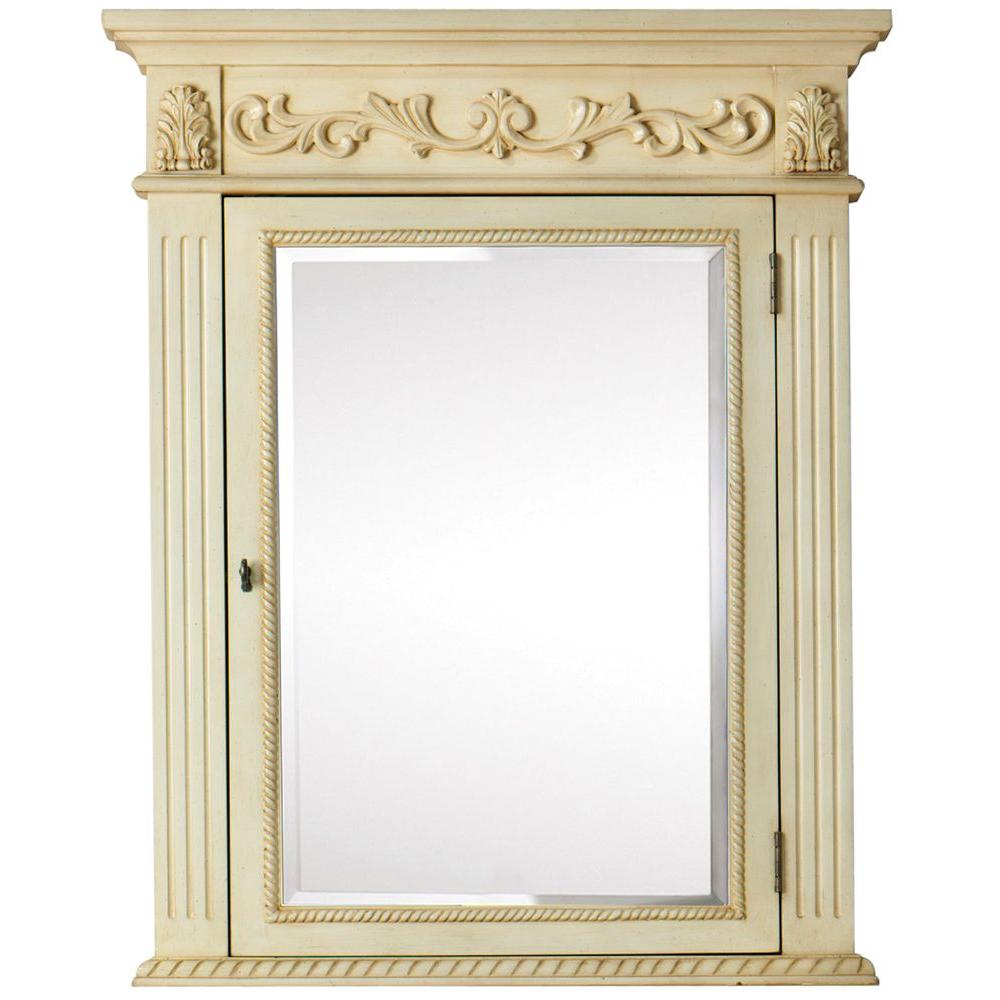 Home Decorators Collection Heirloom 40 in. L x 32 in. W Corner Cabinet Wall Mirror in Antique White-DISCONTINUED