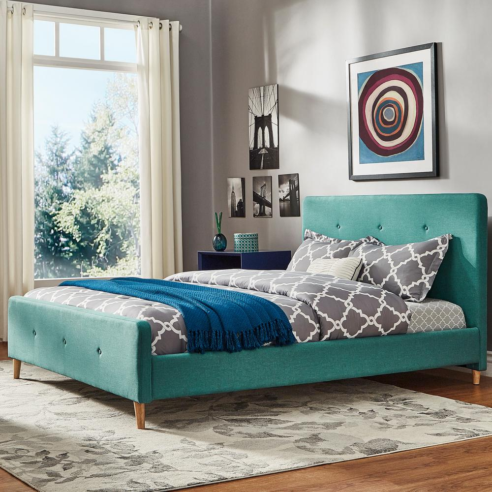 HomeSullivan Veronica Mid Century Cyan Full Standard Bed