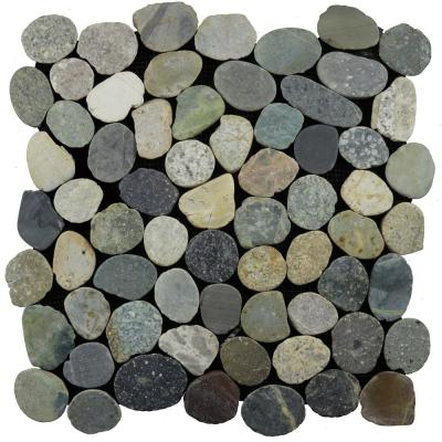 Sliced Mosaic Pebble Tile River Grey 11-1/2 in. x 11-1/2 in. x 9.5 mm Mesh-Mounted Mosaic Tile (10.098 sq. ft. / case)