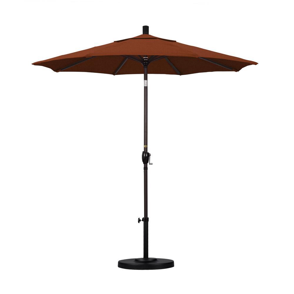 7-1/2 ft. Fiberglass Push Tilt Patio Umbrella in Terracotta Olefin