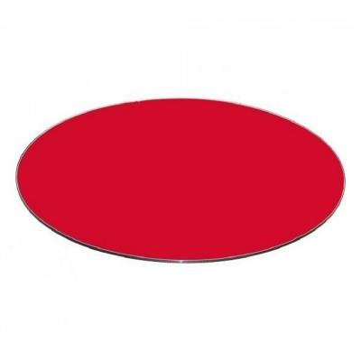 "30"" Inch Red Round Glass Table Top Back Painted 3/8"" Thick Flat Edge Polished Tempered"