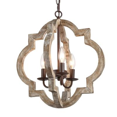 Cachil 16 in. 3-Light Bronze Weathered Wood Rustic Farmhouse Dining Room Candelabra Chandelier