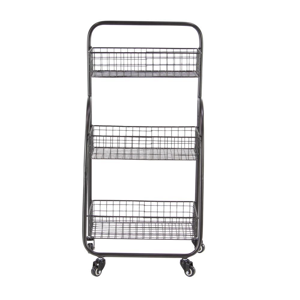 Black 3-Tier Basket Cart