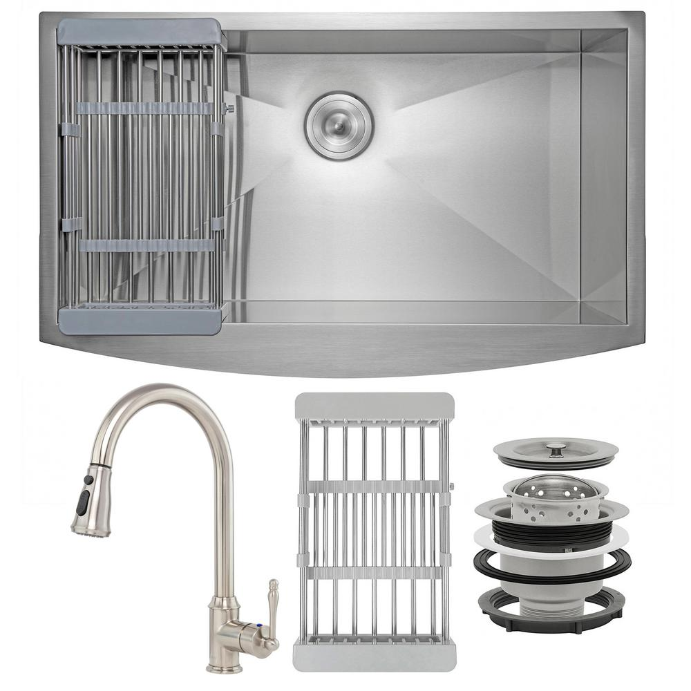 AKDY Handmade All-in-One Farmhouse Stainless Steel 33 in. x 20 in. Single Bowl Kitchen Sink w/ Pull-Down Faucet, Drying Rack, Brushed Stainless Steel was $610.0 now $389.99 (36.0% off)
