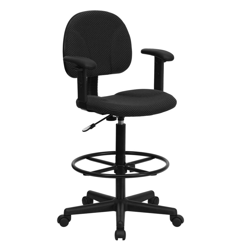 Black Patterned Fabric Ergonomic Drafting Chair with Height Adjustable Arms