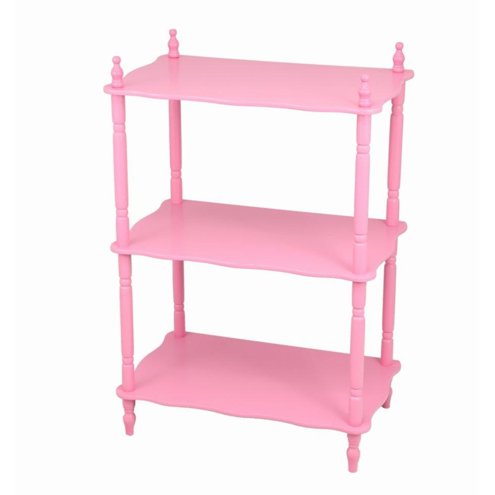 3-Shelf Pink Kid's Bookshelf