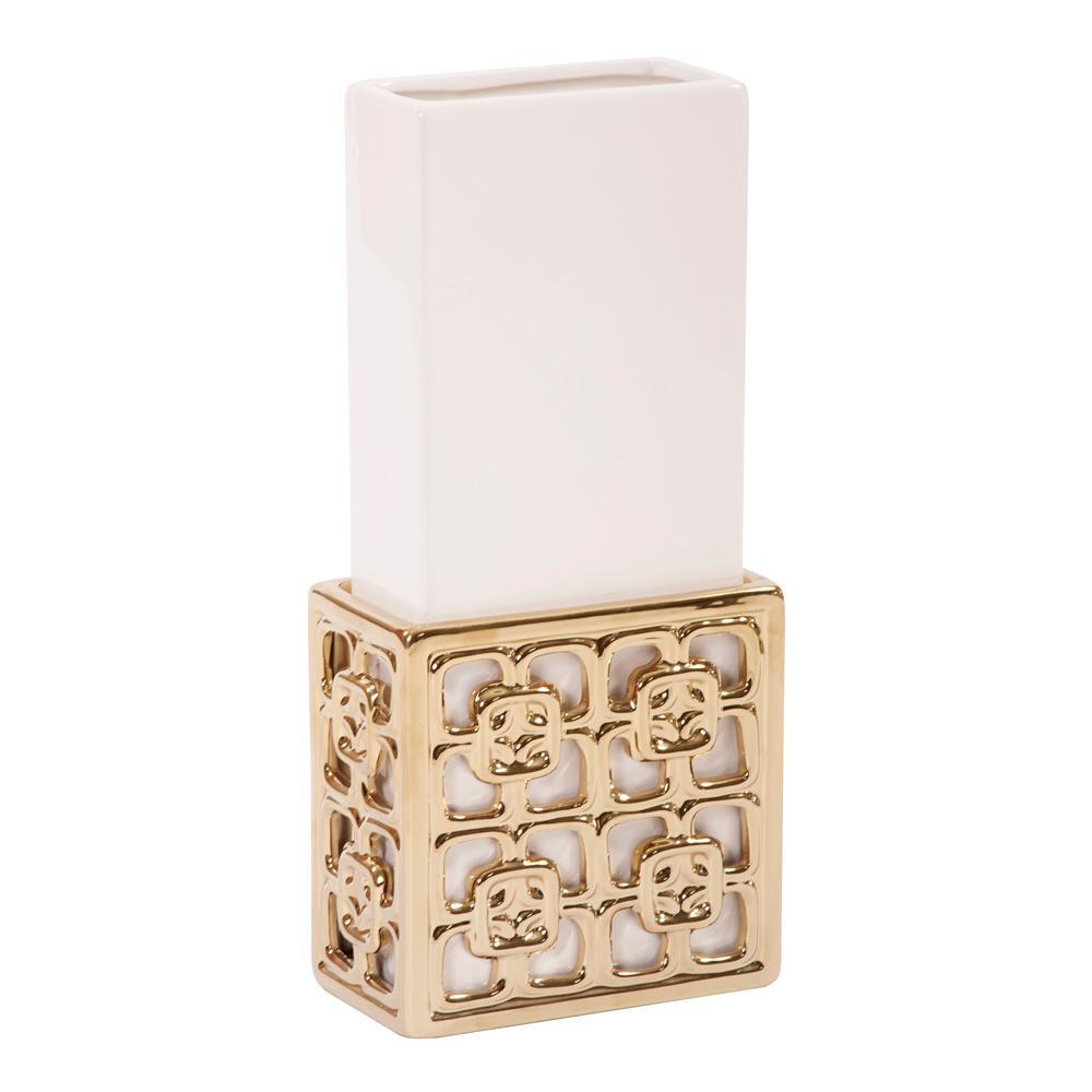 Gold Lattice Base Ceramic Decorative Vase Small