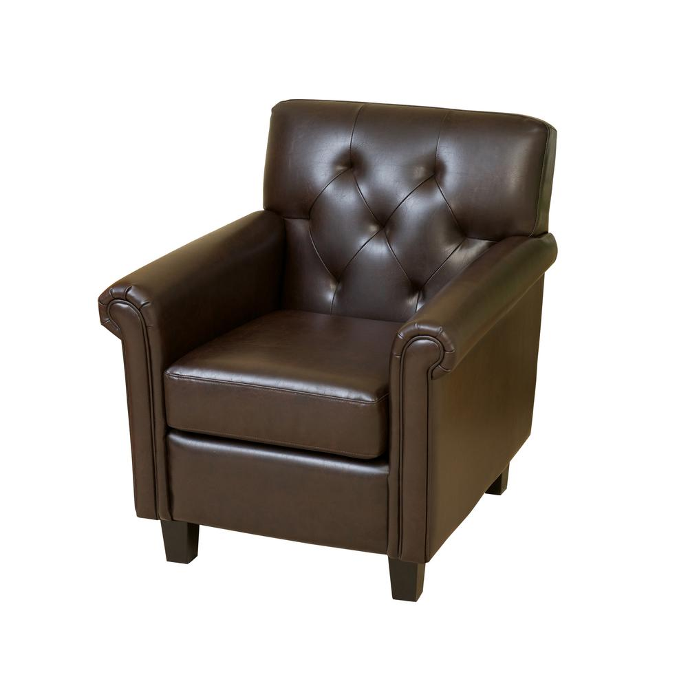 Noble House Veronica Brown Leather Tufted Club Chair