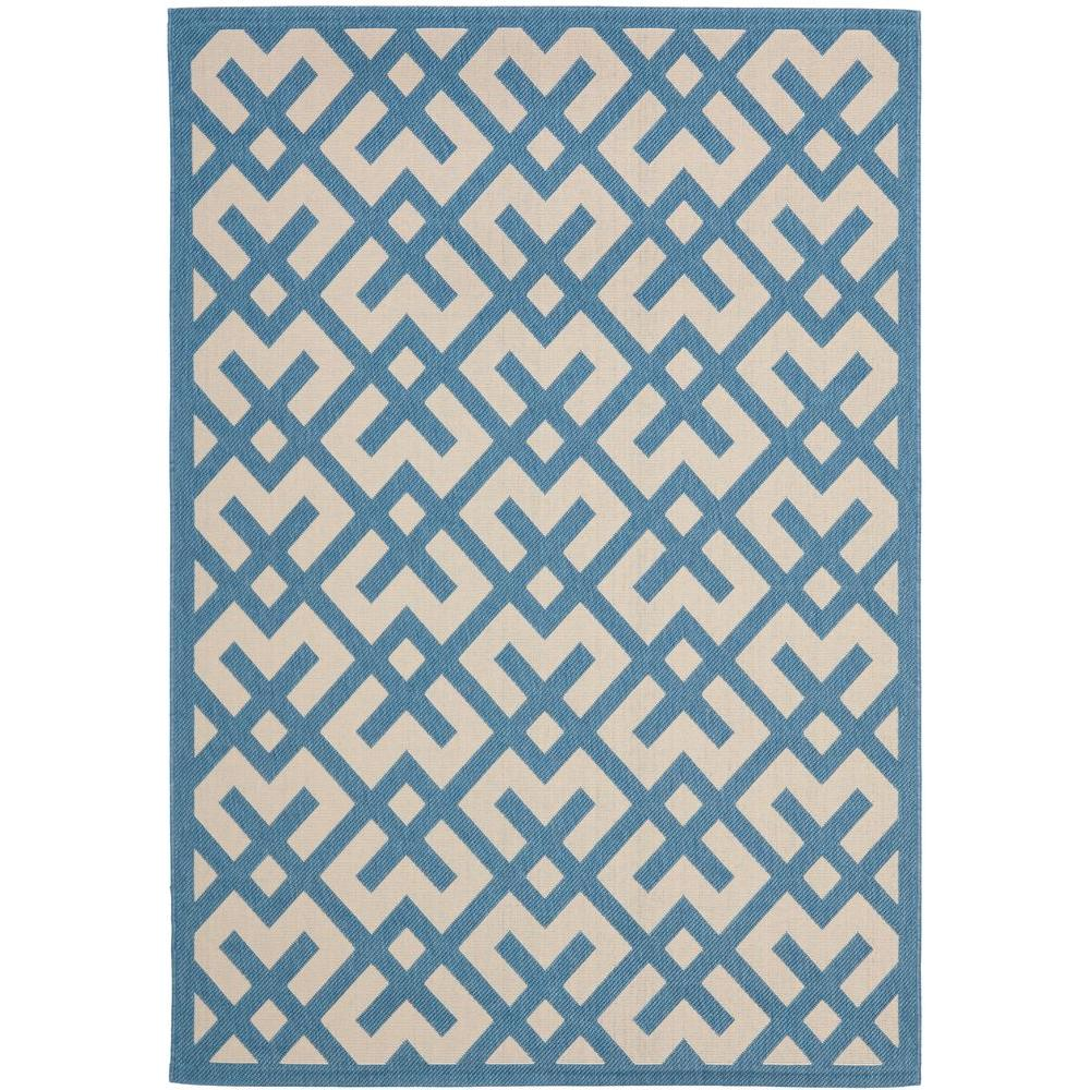 Courtyard Beige/Blue 8 ft. x 11 ft. Indoor/Outdoor Area Rug
