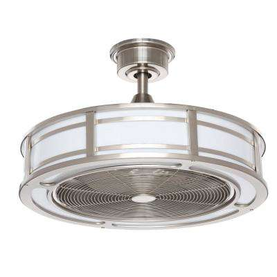 Brette 23 in. LED Indoor/Outdoor Brushed Nickel Ceiling Fan