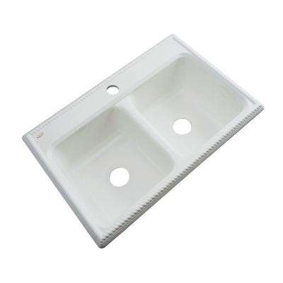 Seabrook Drop-In Acrylic 33 in. 1-Hole Double Bowl Kitchen Sink in Ice Grey