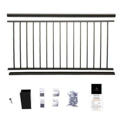 Powder Coated Aluminum Preembled Deck Railing 36 In X 8 Ft Black