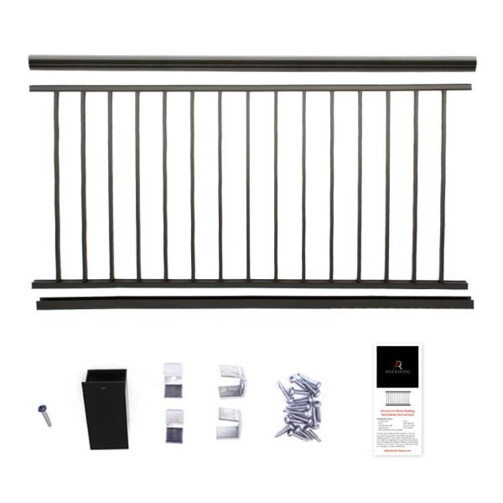 Powder Coated Aluminum Preassembled Deck Railing 36 in. x 8 ft. - Black