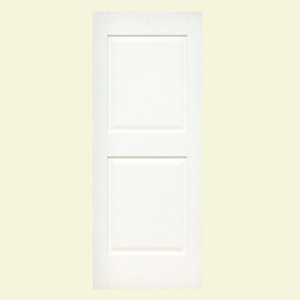 null Plantation 14 in. x 35 in. Solid Wood Raised Panel Exterior Shutters 4 Pair Behr Ultra Pure White-DISCONTINUED
