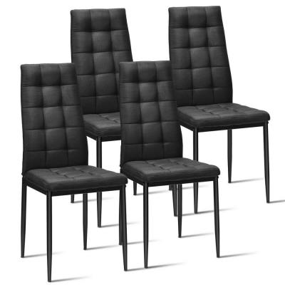 Black Kitchen Dining Side Chairs with Thick Fabric Cushion (Set of 4)