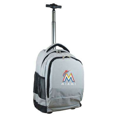 MLB Miami Marlins 19 in. Gray Wheeled Premium Backpack