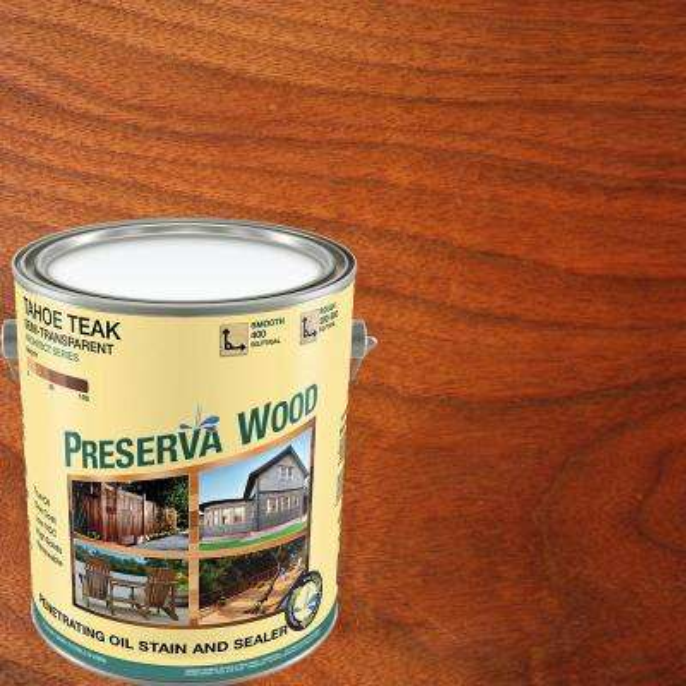 1 gal. 100 VOC Semi-Transparent Oil Based Tahoe Teak Exterior Stain
