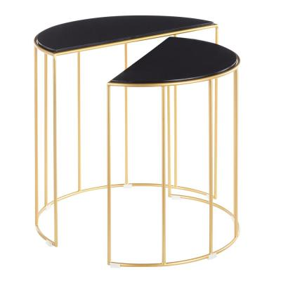 Canary Nesting Tables in Gold Metal with Black Marble Top (Set of 2)