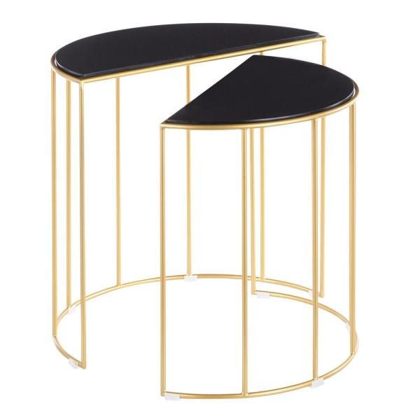 Lumisource Canary Nesting Tables in Gold Metal with Black Marble Top