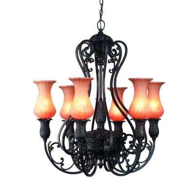 Richtree Collection 6-Light Aged Bronze Hanging Chandelier