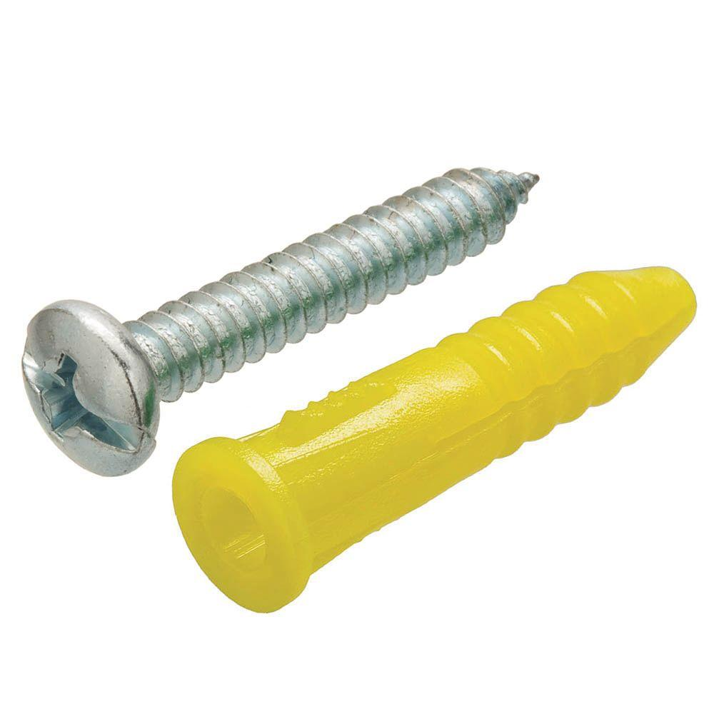 Crown Bolt #4-6 x 7/8 in. Yellow Plastic Ribbed Anchors with Screws (10-Pack)