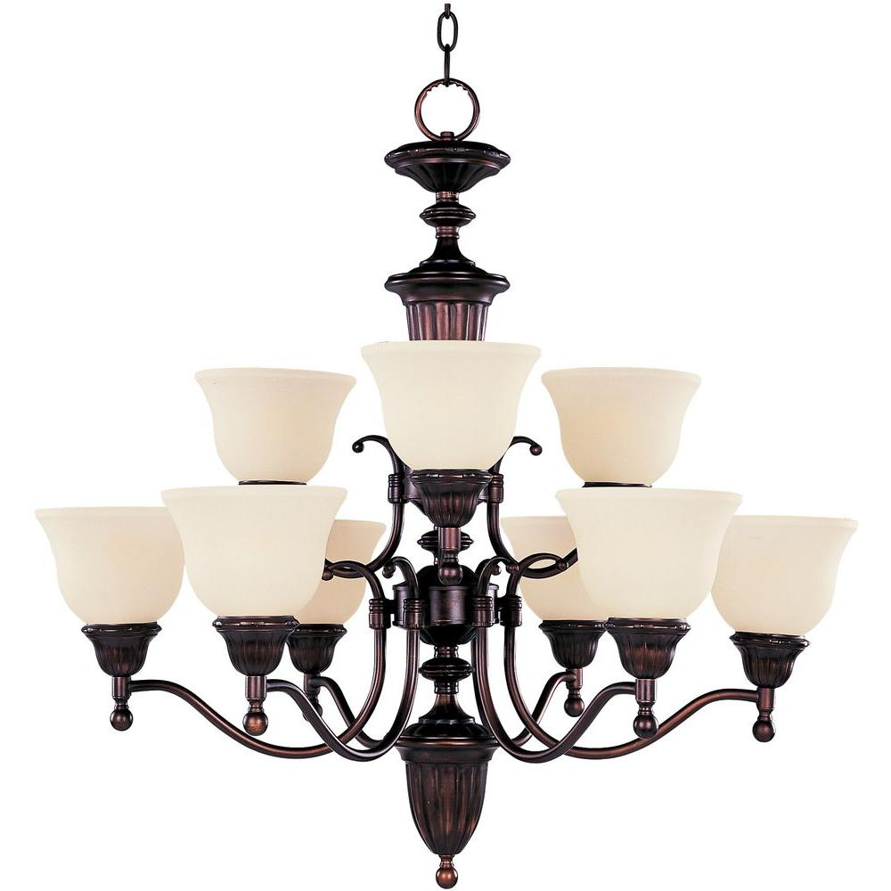 Illumine 9-Light Oil Rubbed Bronze Chandelier with Soft Vanilla Glass Shade