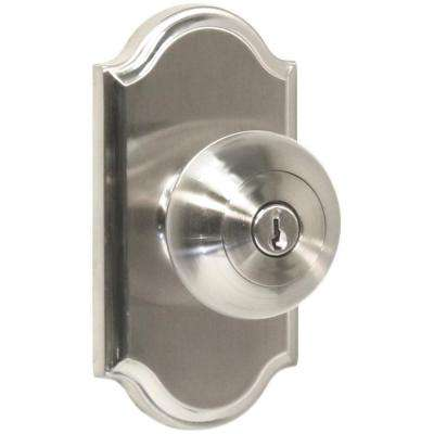 Elegance Satin Nickel Premiere Keyed Entry Impresa Door Knob