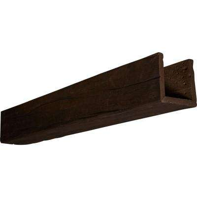 4 in. x 8 in. x 18 ft. 3-Sided (U-Beam) Riverwood Espresso Finish Faux Wood Beam