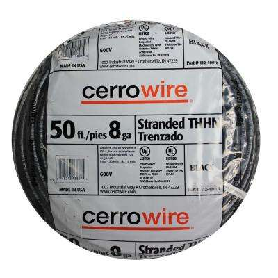 50 ft. 8-Gauge Black Stranded THHN Wire